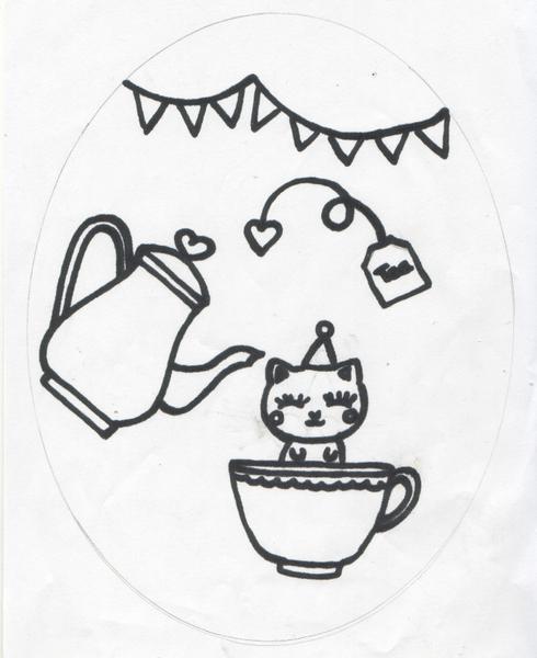Cadre tea time en feutrine ♥-L'illustration