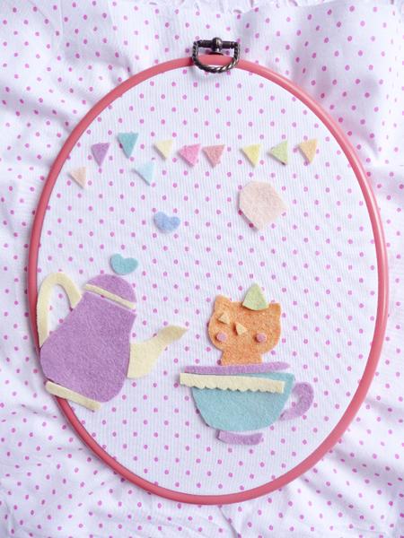 Cadre tea time en feutrine ♥-Tissu et découpe de la feutrine
