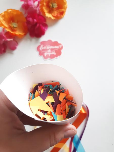Confettis pour la sortie des mariés aux Couleurs du Mexique !-Remplissage du cornet