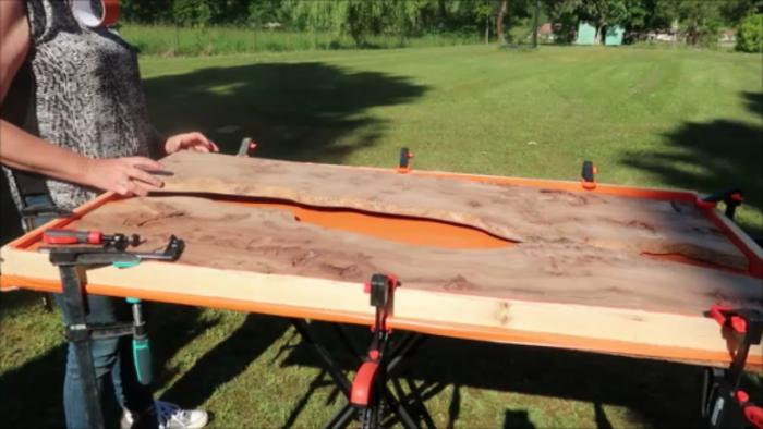 River Table Fire lave incandescente epoxy Art-Bloquez les planches