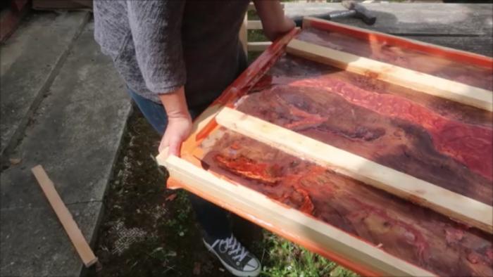 River Table Fire lave incandescente epoxy Art-Décoffrez la table rivière