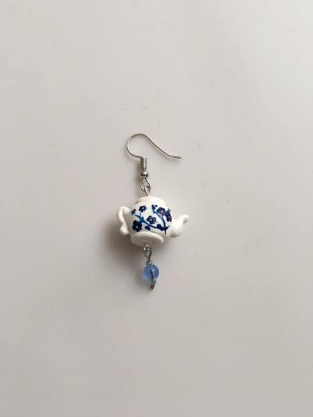 Boucles d'oreille style porcelaine chinoise-Assemblage de la boucle d'oreille théière