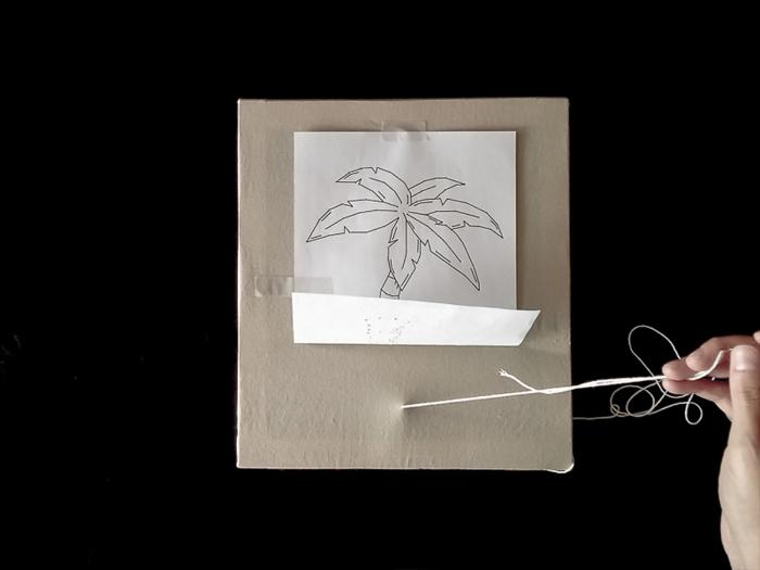 Cadre brodé tendance tropicale-La « broderie » sur tissu