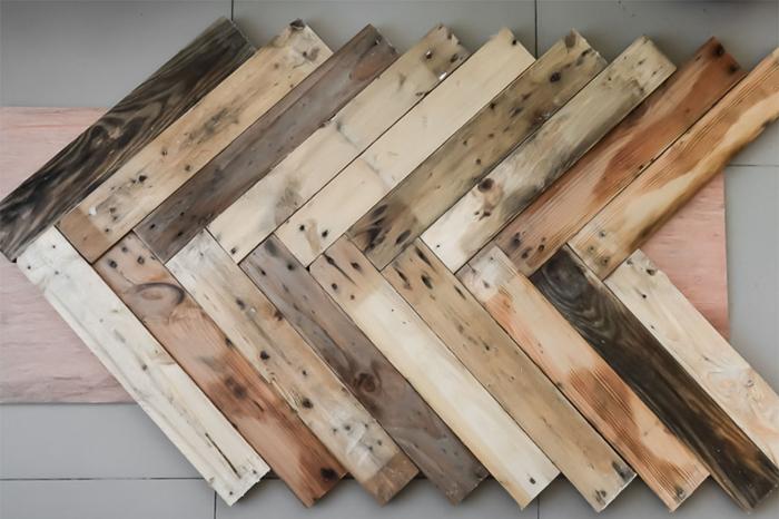 Une table basse en palette-La réalisation du chevron