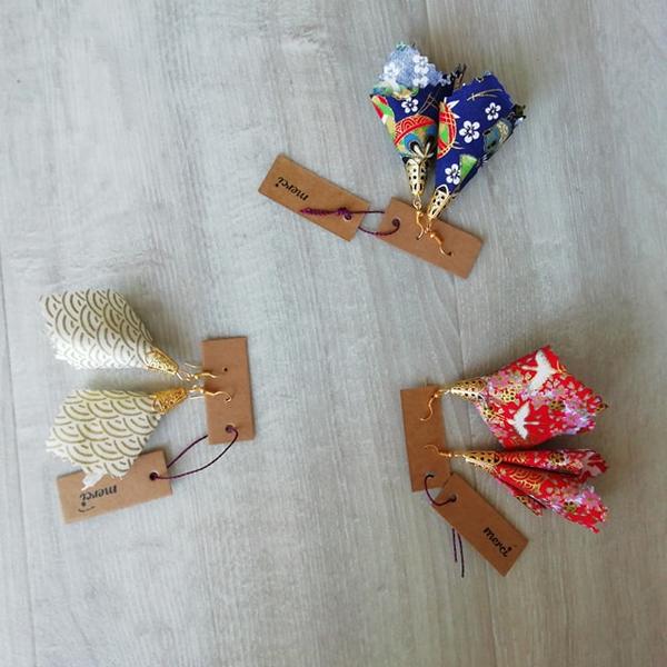 Boucles d'oreilles Corolles tissu japonais-Amusez vous avec d'autres tissus japonais
