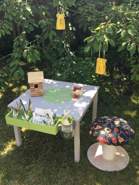 Ma table d'appoint pour le jardin 100% récup-Et on en profite !!