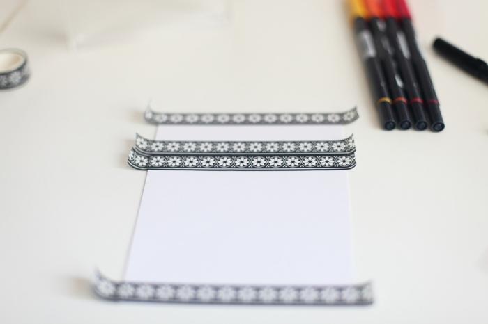Menu en lettering et fond aquarelle pour un mariage coloré-Préparation de la feuille de menu (bristol)