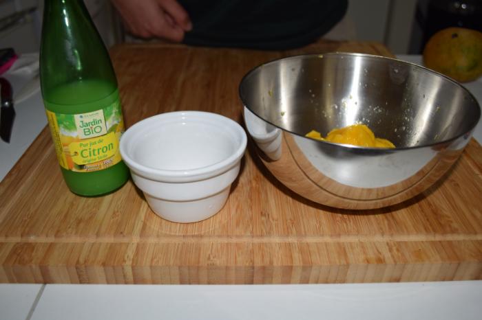 Panna cotta mangue-coco vegan-Coulis de mangue