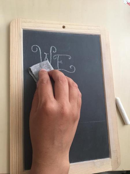 Dessiner une ardoise décorative pour une Tea party-Commencer à écrire sur l'ardoise