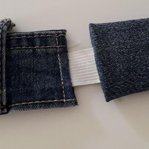 Bandeau cheveux en jeans-Coudre l'élastique au bandeau