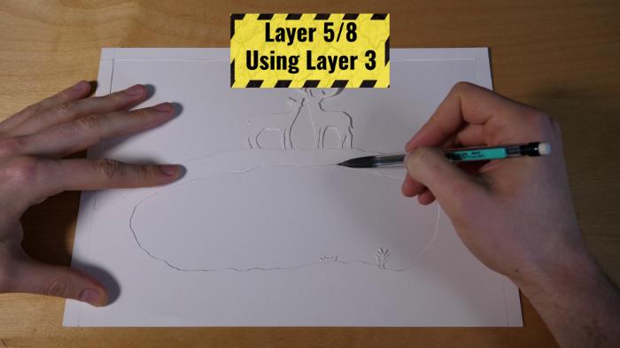 Cadre Lumineux 3D en Papier-Couche 4 & 5 : reflection sur l'eau