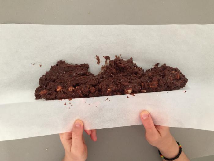 Saucisson au Chocolat-Mélange et formation du boudin
