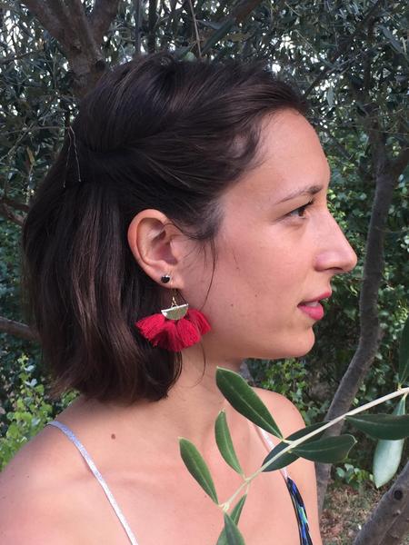Les boucles d'oreilles pompons-Résultat final