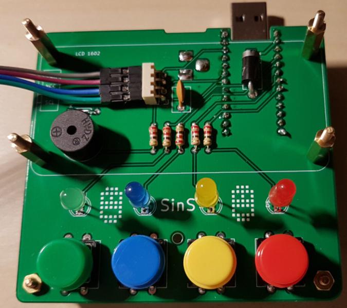 Sins is not Simon: carte électronique du jeux-Soudure des composants sur le circuit imprimé