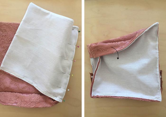 """Un sac à dos renardeau en tissu recyclé-Assemblage du """"corps"""" du sac à dos"""