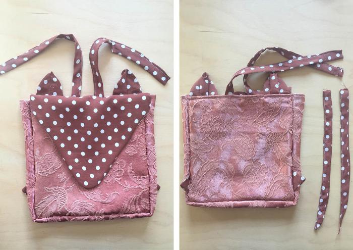 Un sac à dos renardeau en tissu recyclé-Assemblage des autres bretelles