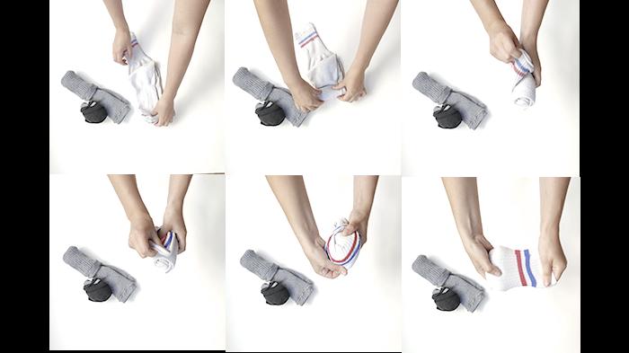 Coussin/Molletonnage déco de chaussettes ! (Version 1 boudins fixes)-Pliage des chaussettes en boudin