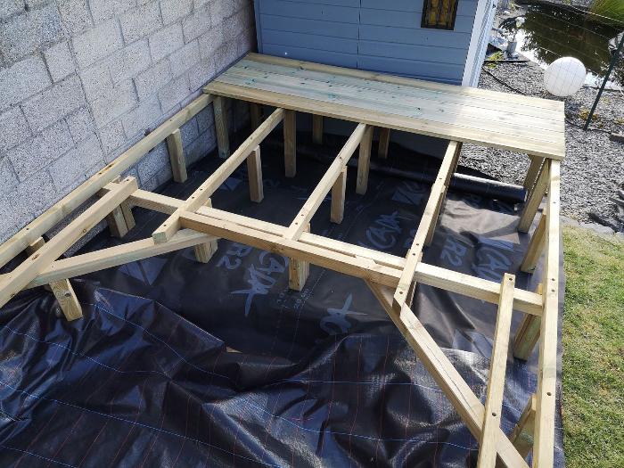 Terrasse pour SPA gonflable, avec couvercle motorisé-Pose des lames