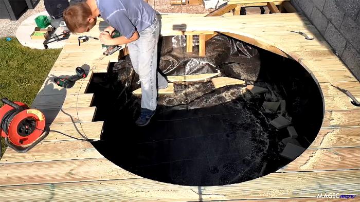 Terrasse pour SPA gonflable, avec couvercle motorisé-Découpe du cercle