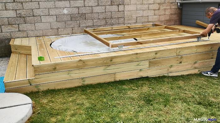 Terrasse pour SPA gonflable, avec couvercle motorisé-Rails