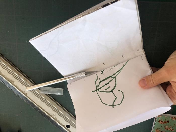 Carnet de notes en papier recyclé-Couture des feuillets