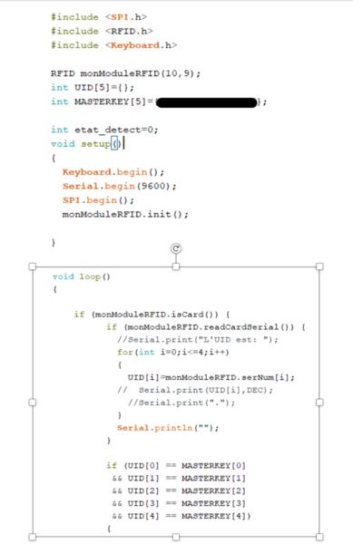 Code du module RFID Secure-Le code