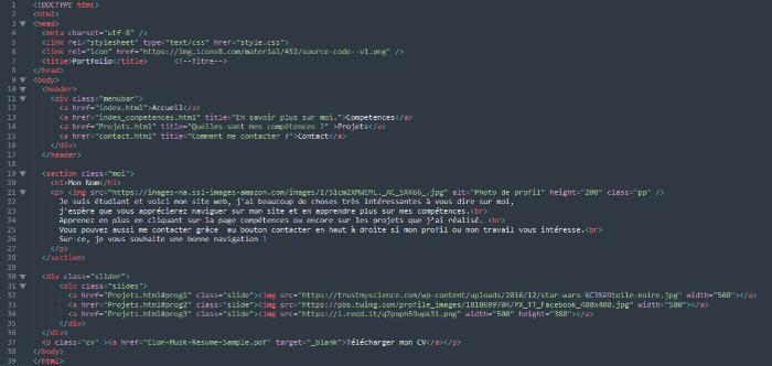 Portfolio web html-la page d'accueil