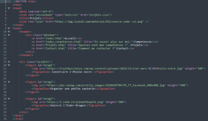 Portfolio web html-La page Projets