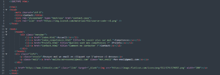 Portfolio web html-La page Contact