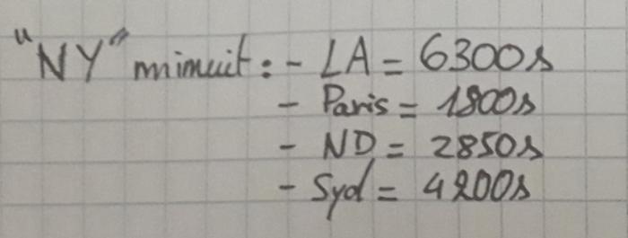 Calculer la différence de secondes entre deux villes-Déterminer le nombres de secondes qui séparent deux villes