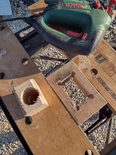 Vase design en bois et acier inoxydable-Réalisation de l'évidement central