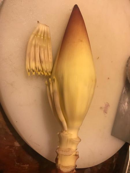 Recette cambodgienne familiale : Riz bouilli à la citronnelle accompagné de poulet -Préparer la fleur de bananier