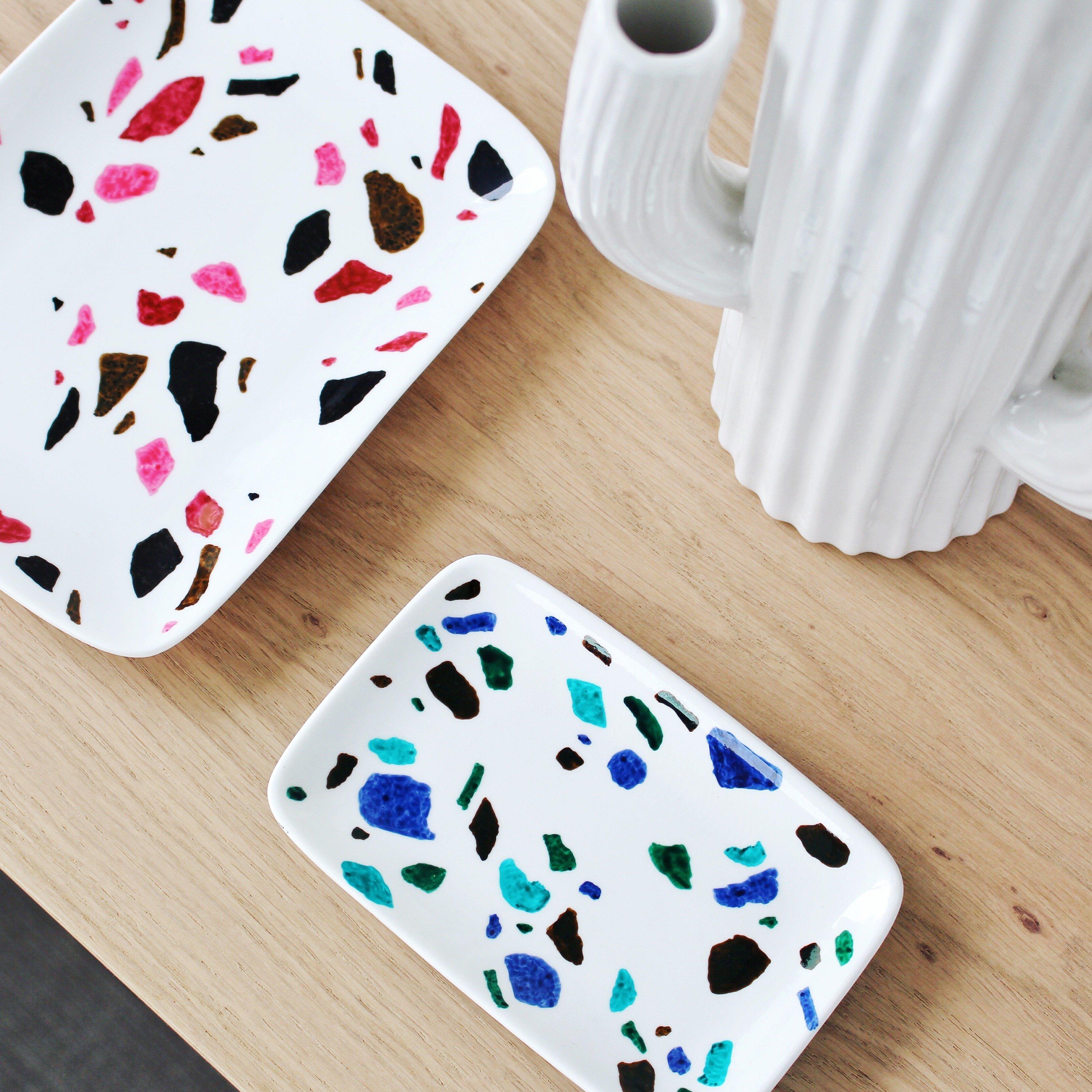 Tuto Peinture Sur Porcelaine coupelles en porcelaine motif terrazzo | oui are makers