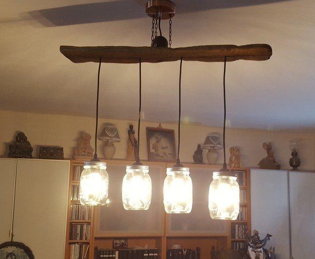 diy suspension en bois flott et bocaux oui are makers. Black Bedroom Furniture Sets. Home Design Ideas