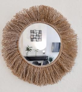 Miroir soleil en cordelette de jute