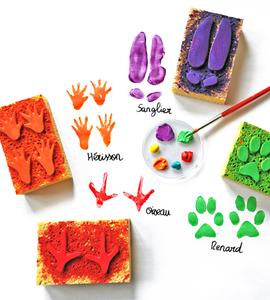 Tampons éponges traces de pattes d'animaux