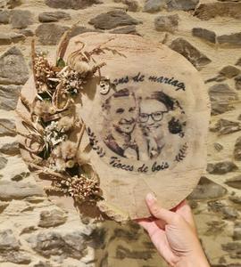 Décoration florale murale- transfert d'image sur bois